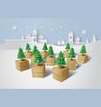 christmas tree on gift box vector image vector image