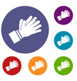 clapping applauding hands icons set vector image vector image