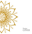 clean white cover with gold beautiful flower vector image