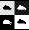 cloud and shield with check mark icon on black vector image vector image