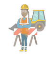 confident african builder with arms crossed vector image vector image