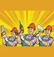 construction worker with the repair tools vector image vector image