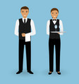 couple of waiter and waitress with dishes and in vector image vector image