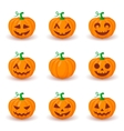 Cute pumpkin faces set vector image