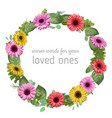 designer watercolor floral frame wreath colored vector image