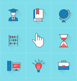 education icons icon set in flat design style vector image vector image