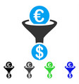 euro currency conversion funnel flat icon vector image