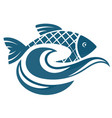 fish on water waves vector image vector image