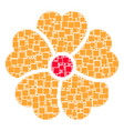 flower collage of squares and circles vector image vector image
