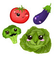 funny cartoon cute beet cabbage and ripe tomato vector image vector image