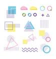 geometric shape elements design memphis 80s 90s vector image vector image