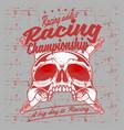 grunge style vintage skull and spark plug racing vector image