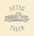 hand drawn engraved retro vintage pickup truck vector image vector image