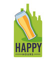 happy hours in pub and bar craft beer in glass vector image vector image