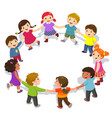 happy kids holding hands in a circle cute boys vector image vector image