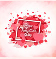 happy valentines day square red heart pink backgro vector image