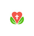 heart and leaves for medical logo vector image vector image