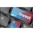 Hot key for investment - invest key on keyboard vector image vector image
