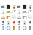 interior of the workplace cartoonmono icons in vector image vector image