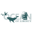 lettering ocean with a big hand-drawn whale vector image vector image