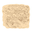 medieval fantasy map drawing vector image