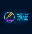 neon glowing sign of corn dog in circle frame vector image