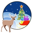 New year and Christmas card with a deer and tree vector image vector image