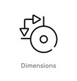 outline dimensions icon isolated black simple vector image vector image