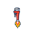 Pipe Wrench Rocket Booster Side Retro vector image vector image