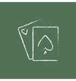 Playing cards icon drawn in chalk vector image vector image