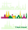 poster with images of world monuments icons of vector image