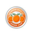 premium quality orange juice badge with three vector image vector image