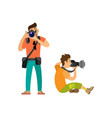 professional photographers taking photos cameras vector image vector image