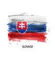 Realistic watercolor painting flag slovakia