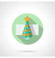 Round flat icon for Christmas tree vector image vector image