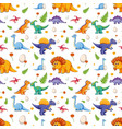 seamless pattern with various cute dinosaurs vector image