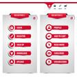 set of red web buttons vector image vector image