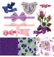 set of the ribbons with bows the rose vector image vector image