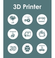 Set of three d printer simple icons vector image vector image