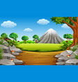 stone mountain with big and tall tree vector image vector image