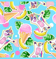 summer seamless pattern with unicorn vector image