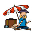 tourist woman with suitcase and umbrella vector image vector image