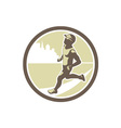 Triathlete Running Side Circle Retro vector image vector image