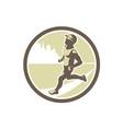 Triathlete Running Side Circle Retro vector image