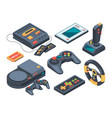 video game console and different technical gadgets vector image vector image