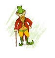 vintage hand drawn leprechaun vector image