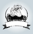 Vintage label with drawing eagle vector image
