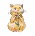 watercolor hamster eating corn sketch art vector image vector image