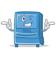 wink mailbox character cartoon style vector image vector image