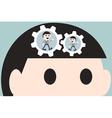 working cogwheel in head businessman vector image